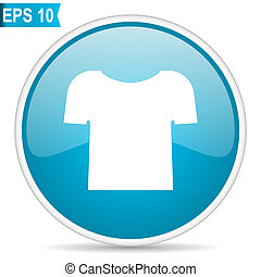 tshirt shirt clothes garmet button blue glossy round vector icon on white background