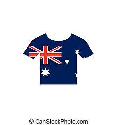 tshirt with flag emblem australia icon on white background