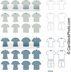 tshirts, moda, conjunto, vector