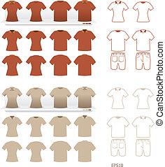 tshirts, moda, set, vettore