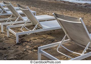 tsilivi, műanyag, sunbeds, white tengerpart, üres