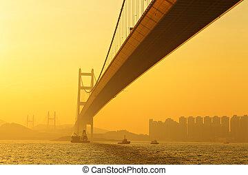 tsing, πτυχίο μάστερ , γέφυρα , μέσα , ηλιοβασίλεμα