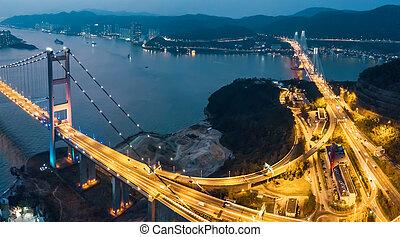 tsing, πτυχίο μάστερ , γέφυρα , σε , ηλιοβασίλεμα , μέσα , hong , kong.