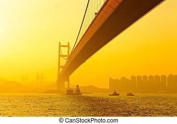tsing,  ma, 傍晚, 橋梁
