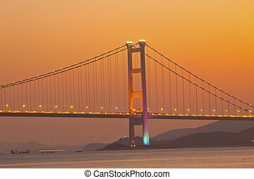 Tsing Ma Bridge at sunset moment in Hong Kong