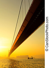 tsing ma bridge at sunset