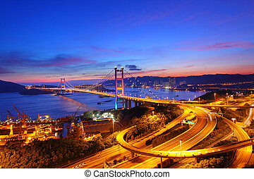 Tsing Ma Bridge at sunset time in Hong Kong