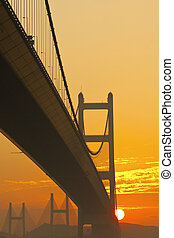 Tsing Ma Bridge at sunset time
