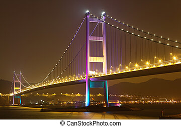 Tsing Ma bridge in Hong Kong at night