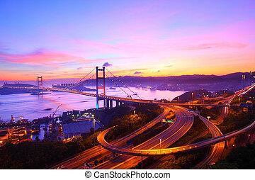 Tsing Ma Bridge in Hong Kong at sunset time