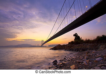 Tsing Ma Bridge in Hong Kong at sunset time