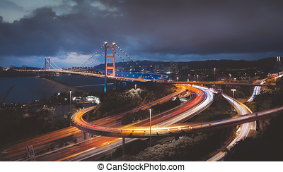 Tsing Ma Bridge in Hong Kong sunset