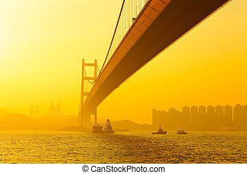 tsing ma bridge in sunset