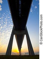 Tsing Ma Bridge landmark in Hong Kong under sunset