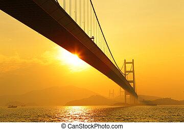 tsing, ma, pôr do sol, ponte