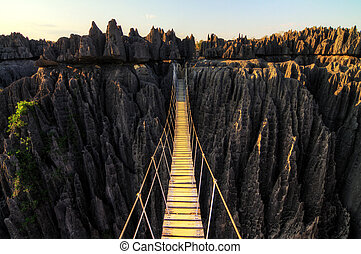 Beautiful HDR view on the bridge over the canyon at the Tsingy de Bemaraha Strict Nature Reserve in Madagascar