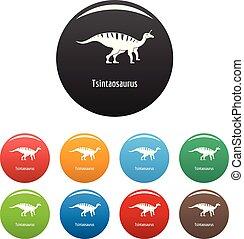 Tsintaosaurus icons set color vector - Tsintaosaurus icon....