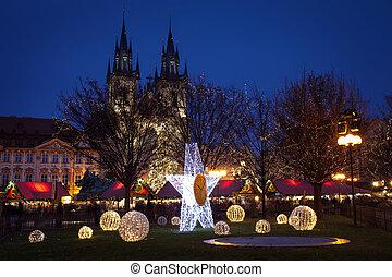 tsjech, atmosfeer, republiek, kerstmis, praag