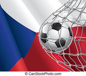 tsjech, voetbal, vlag, bal