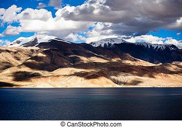 tso, moriri, m., lake., tramonto, himalaya, altitudine, 4600