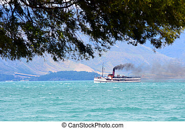 QUEENSTOWN, NZ - JAN 16:TSS Earnslaw on Jan 16 2014.It's one of the oldest tourist attractions in Otago and the only remaining commercial passenger coal-fired steamship in the southern hemisphere.