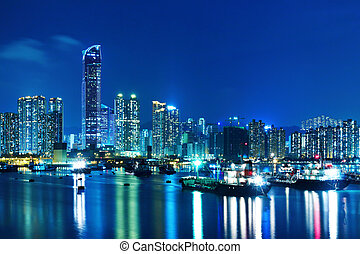 Tsuen Wan in Hong Kong at night