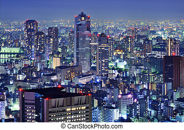 Tsukiji District skyline in Tokyo, Japan.