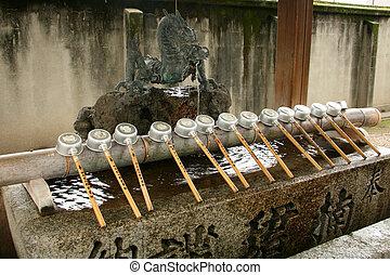 tsukubai, -, sumiyoshi, taisha, relikwiarz, osaka, japonia