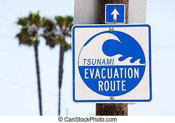 tsunami, 疏散, 路线, 签署