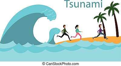Tsunami. A big wave