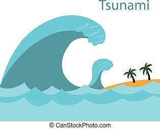 Tsunami. A big wave.