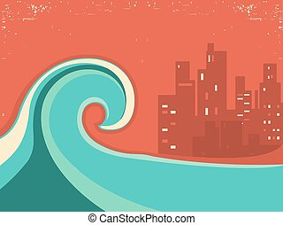 Tsunami and big city in the night.Huge wave poster on old...