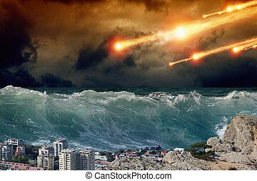 Tsunami, asteriod impact - Apocalyptic background - giant...