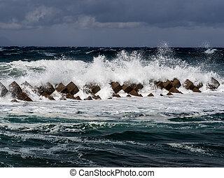 tsunami, barreira, em, japão