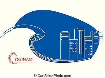 tsunami, city., イラスト, ベクトル, 線, 大きい, 平ら