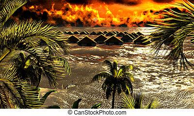 tsunami, détruire, pavillons