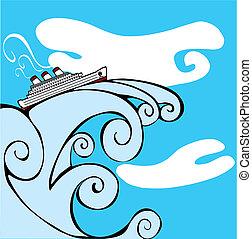tsunami., de cruise van het schip