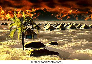 Tsunami destroying bungalows