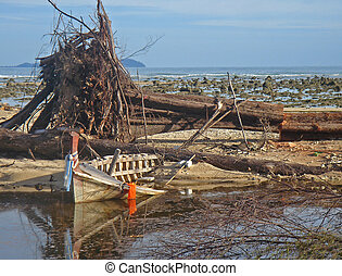 Debris on a beach near Khao Lak, Thailand after the tsunami disaster