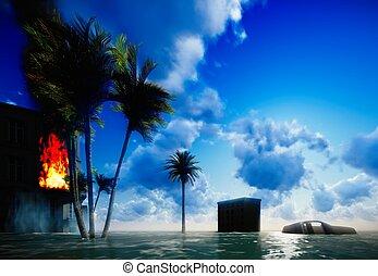 Tsunami devastating the city