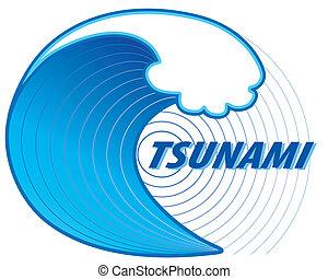 Tsunami, Earthquake Epicenter - Giant tsunami wave crest,...