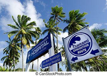 Tsunami evacuation route in Rarotonga Cook Islands