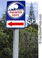 Tsunami evacuation route sign