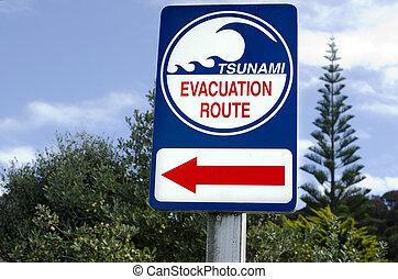 Tsunami evacuation route sign in a coastal area.