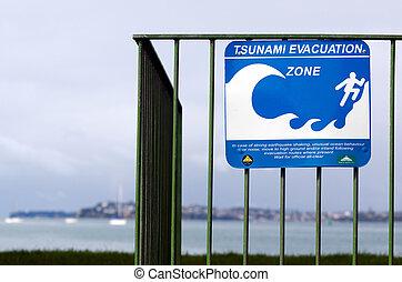 Tsunami evacuation route sign - AUCKLAND,NZ - MAY 30:Tsunami...