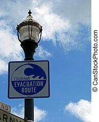 Tsunami Evacuation Route Sign San Francisco California