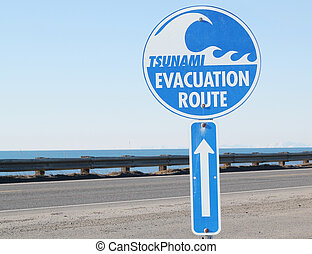 Tsunami evacuation route sign with the ocean in the background