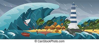 Tsunami flat cartoon seascape panoramic landscape vector ...