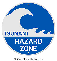 Tsunami Hazard Zone - Blue Rounded Sign with Tsunami Danger...