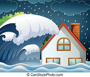 Tsunami hitting the house illustration